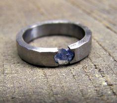 Handmade Ring Sapphire Ring Titanium Ring Rough by RobandLean