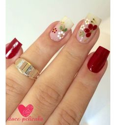 Perfect Nails, Gorgeous Nails, Pretty Nails, Red Nails, Hair And Nails, Sunflower Nail Art, Girls Nails, Super Nails, Flower Nails