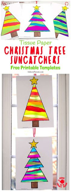 Tissue Paper Christmas Tree Suncatcher Craft is such a pretty Christmas craft for kids. Easy to make with free printable templates and torn tissue paper. Christmas Tree Template, Christmas Tree Fairy, Christmas Tree Pattern, Merry Christmas, Preschool Christmas, Free Christmas Printables, Christmas Activities, Christmas Crafts For Kids, Holiday Crafts