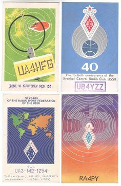 4 QSL Ham Radio Card USSR Russia Radio Signal propaganda poster style postcards