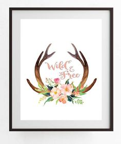 printable art Wild and Free Watercolor Deer Antlers with Pink