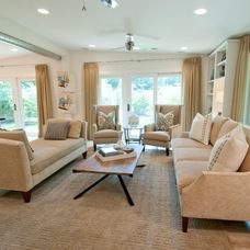 beige feizy rug in this elegant  contemporary family room by Butter Lutz Interiors, LLC