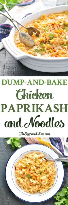 This Dump-and-Bake Chicken Paprikash and Noodles is an entire dinner that cooks in one dish! Chicken Recipes | Chicken Breast Recipes | Easy Dinner Recipes | Dinner Ideas #pasta #chicken #dinner #theseasonedmom