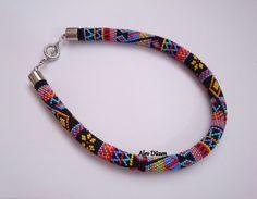 FREE SHIPPING AN018 Black Summer Bead Crochet Necklace