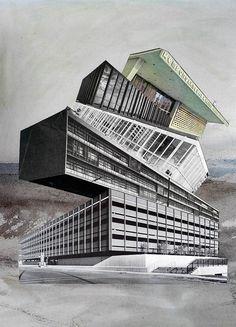 Denis Schäfer: No Joke. #Collage #Architektur #Bauhaus #Moderne #Stapelbau #Babel #startyourart #DenisSchäfer www.startyourart.de