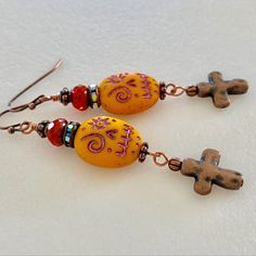 Cross Earrings, Bead Earrings, Sugar Skull Earrings, Halloween Earrings, Beaded Skull, Czech Glass Beads, Sugar Skulls, Voodoo, Beading