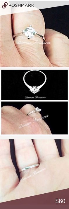 ❤️.50 Carat Swarovski Crystal Engagement Ring This Exceptional Engagement Ring features the very popular Swarovski Crystal. Approx. .50 Carats. It's set in a 10K White Gold filled 4 pronged setting.  A simple, beautiful look! Jewelry Rings