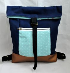 Wrap-up backpack with inspiring blues and bronze