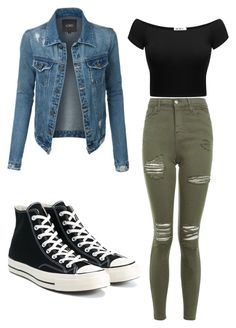 """outfits casual 7"" on Polyvore featuring Topshop, Converse and LE3NO jeans zapatillas dennin primavera otoño"