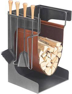 Schössmetall Holzablage mit Kaminbesteck VANCOUVER-1