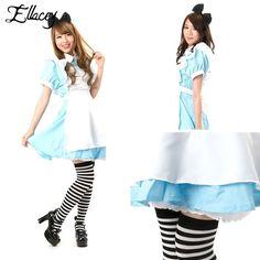 New 2016 Lovely Maid Cosplay Dress Women Classic Halloween Costumes Alice in Wonderland Kawaii Blue Maid Service Dress