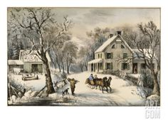 American Homestead Winter  Currier & Ives