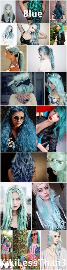 Pastel hair ideas. Dye your hair fun colors: Blue hair, green hair, turquoise hair, teal hair, sky blue hair, light blue hair, etc. Enjoy!