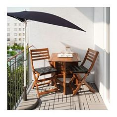 IKEA - FLISÖ, Umbrella, The fabric gives very good protection against the sun's UV rays as it has a UPF (Ultraviolet Protection Factor) rating of 25+, which means it blocks 96% of the ultraviolet radiation.You can adjust the height of the umbrella to perfectly suit your space.You can place this umbrella flat against the wall or balcony rail, which means it takes very little space and is perfect for small areas.