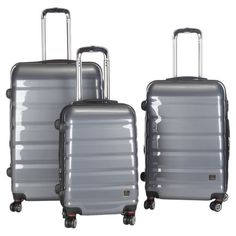 Jetset in style with this hard-shell suitcase set, perfect for weekend jaunts and exotic getaways. These sleek grey designs feature inline spinner wheels and...
