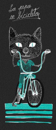 en bici, ilustración de Juan Pablo Battista