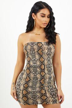 ac83a16da97 Snakeskin Strapless Mini Dress