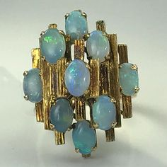 Vintage Opal Ring. Opal Modernist Cluster Ring. 14K Yellow