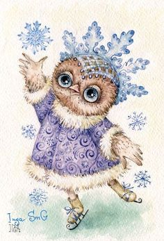 Winter Owl~ by Inga Sm G . Owl Bird, Pet Birds, Owl Graphic, Owl Artwork, Whimsical Owl, Paper Owls, Owl Cartoon, Owl Pictures, Owl Always Love You