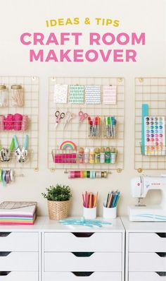 My new craft room reveal is here! Going over craft room storage, organization, a. My new craft room reveal is here! Going over craft room storage, organization, and decor ideas to help create an ins Craft Room Storage, Ikea Craft Room, Craft Room Decor, Craft Room Design, Craft Organization, Diy Design, Office Storage, Craft Rooms, Craftroom Storage Ideas