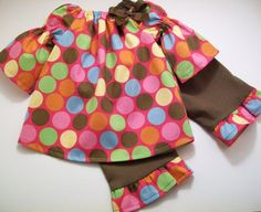 Bell sleeve peasant.  Love the HUGE dots and colors!