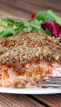 Bourbon Pecan Crusted Salmon   YummyAddiction.com