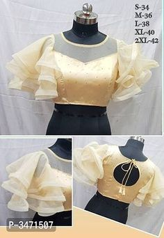 New Fancy Elegent Frill Ruffle Sleeves Blouse by Westofashion - Online shopping for Blouses on MyShopPrime - Netted Blouse Designs, Simple Blouse Designs, Stylish Blouse Design, Blouse Designs Catalogue, Outfit Invierno, Sleeves Designs For Dresses, Designer Blouse Patterns, Online Shopping, Modern