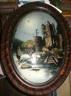 Antique Oval Reverse Glass Painting On Convex Glass