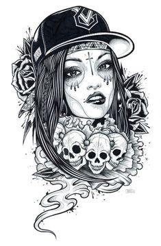 Imagem de skull, drawing, and black and white