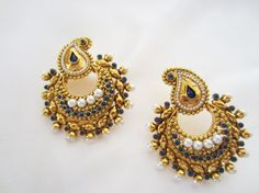 Your place to buy and sell all things handmade Designer Jewellery, Jewelry Design, Traditional Design, Anarkali, Indian Jewelry, Bali, Jewerly, Paisley, Crochet Earrings