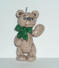 Polymer clay Christmas Teddy Bear with Green bow- charm-bead from CobaltMoonJewelry