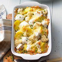 Kabeljauw-aardappelgratin-weight watchers Sappige vis, knapperige bloemkool en stevige aardappelen maken dit gerecht tot een waar succes