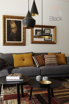 Inspiration {Gold & Black} via Simply Grove.  Layers of texture and art.  Mismatched lighting.  Living room.