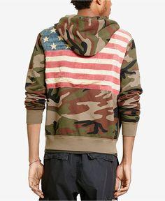 Denim & Supply Ralph Lauren Men US Flag Military Army Camo Hoodie Sweat M L  XL