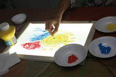 La mesa luminosa permite actividades para estimular los sentidos alrededor de la vista, pero también del tacto.