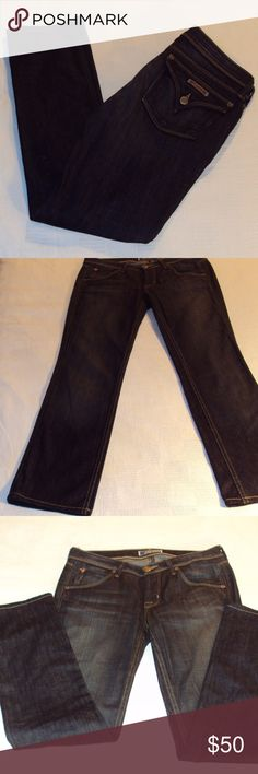 """Hudson Straight leg Jeans Waist: 27"""" Inseam: 29""""  Rise:  8"""" Fabric: Cotton/spandex blend Condition: Like new with damage (has two small holes in fabric below the back of knee left pant leg) Other: RN#107906 Cut#A00749 Hudson Jeans Jeans"""