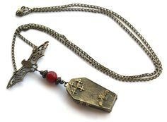 Shadow Dreams Bat Coffin Necklace with Carnelian!. Starting at $12 on http://tophatter.com/saturday-night-majick-auction