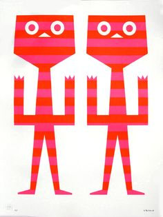 """Tim Biskup brings his unique style with his latest piece, """"Cali Twins"""". This piece measures18 x 24 inches and is a hand pulled silkscreen. Printed on Coventry Rag, (100% Cotton Archival Paper) in an edition of 100. Each print is embossed, signed by the artist and exclusive to PCP, validated with a signed Certificate of Authenticity."""