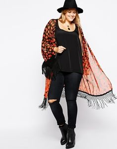 Enlarge ASOS CURVE Poppy Kimono With Fringing