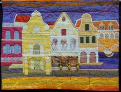 Curaçao Houses, 33 x 25,  by Nel-An van Eenennaam.  2015 World Quilt Show.  Photo by Quilt Inspiration.