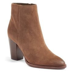 Women's Sam Edelman 'Blake' Bootie ($90) ❤ liked on Polyvore featuring shoes, boots, ankle booties, woodland brown suede, short boots, ankle boots, bootie boots, stacked heel booties and sam edelman booties