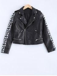 #Gamiss - #Gamiss Lapel Collar Letter Print PU Leather Jacket - AdoreWe.com