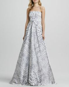 Malene Leopard Strapless Ball Gown by Alexis at Neiman Marcus.  •Stretch printed sateen. •Strapless, straight neckline. •Fitted through bodice.  •High waist. •A-line pleated skirt. •Hem falls to floor.  •Back zip. •Acetate/nylon/spandex; dry clean. •Made in USA of French material. $870