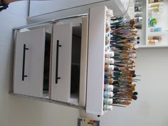 paint and brush storage.