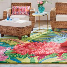 Inspired by tropical foliage and flowers, our beautifully bright and sculpted area rug is sure to anchor your room and transform your space. With a mix of vibrant colors, ultra soft premium New Zealand wool, and GoodWeave certification, Captiva offers a delight with every step. A true, hand-made work of art that can also be hung on the wall like a painting.  Vibrant, floral, statement-making rug with tropical motif and sculpted wool pileMade with New Zealand Wool and a cotton…