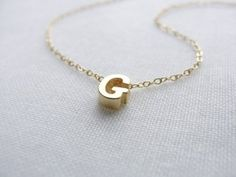 Image of Tiny gold or silver letter necklace – Gold initial necklace- Everyday  bridal