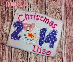 Christmas 2014 Snowman Applique Shirt by NoOdLeSBoutique on Etsy