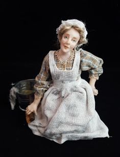 Period Characters Each figure is one of a kind, sculpted from polymer clay . Dollhouse Dolls, Miniature Dolls, Doll Costume, Costumes, Julie Campbell, Victorian Dolls, Fairy Dolls, Cartoon Images, Old Women
