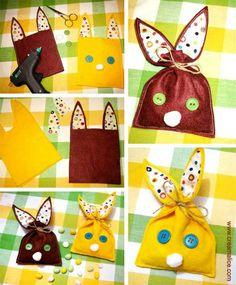 ❀ ✄ DIY Pochons Lapin Pâques / DIY Easter Bag ✄ ❀ http://www.creamalice.com/Coin_conseils/1-loisirs_creatifs_2013/3-Tuto_Pochons_Lapins_Paques/Tuto_DIY_Pochons_Lapins_Paques.htm