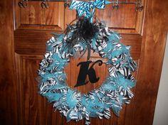 zebra tulle wreath